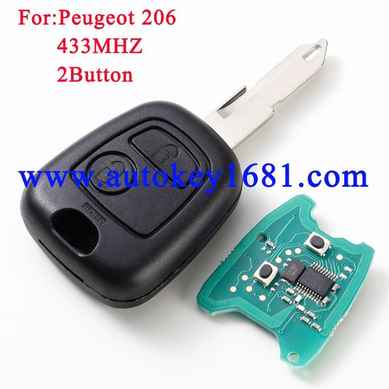 2 Button Remote Key 433mhz fit for PEUGEOT 206 205 405 106 Key