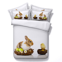 3d Printing Rabbit Chick Egg Bedding Set Duvet Cover 3/4PC Twin/King/Queen/Super King Size Children/Adult Bedroom Home Textiles