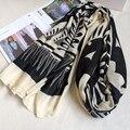 Алмазный Цветочные Женщин Шарф Зимы Мода Простой Черный и Крем Элегантный Бренд Платок Женские Платки Bling bling Pattern НОВЫЙ