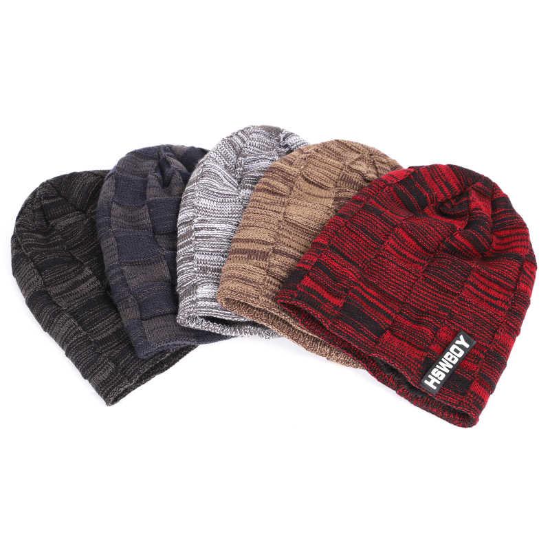 0873c1d543d5d6 ... 2018 New Luxury Brand knitting Beanie Hat Scarf Men's Winter Plaid Plus  Velvet Scarf Thicken Hedging ...