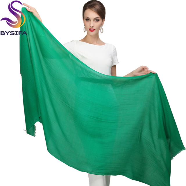 Solid Green Scarves Pashmina Ladies Wool Tassel Scarf Shawl Printed Autumn Winter 100% Pure Wool Long Scarves Wraps 210*80cm