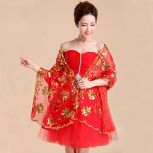 Women Sequined Flower Long Shawl Bridal Wedding Wrap Fashion Bling Stole Accessories Dress Cover Up Handmade