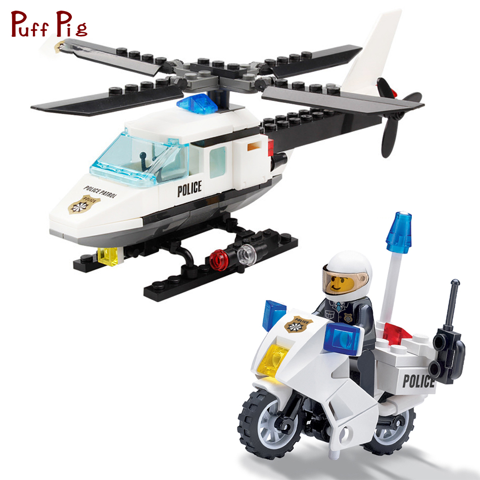 Police Helicopter Airplane Motorcycle Building Block Sets  Kids Toys Jouet City Figures Educational Bricks Toys For Children Kid