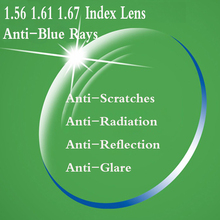 1.56 1.61 1.67 Index Anti Blue Rays Aspheric Prescription Eyeglasses Lens Myopia Presbyopia Optical Lenses For Eye Glasses YQ168