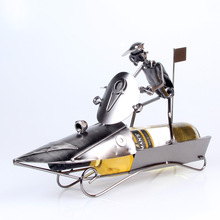 The new listing iron wine rack speedboat motorboat model Wine frame Wrought iron crafts household act the role ofing is tasted.