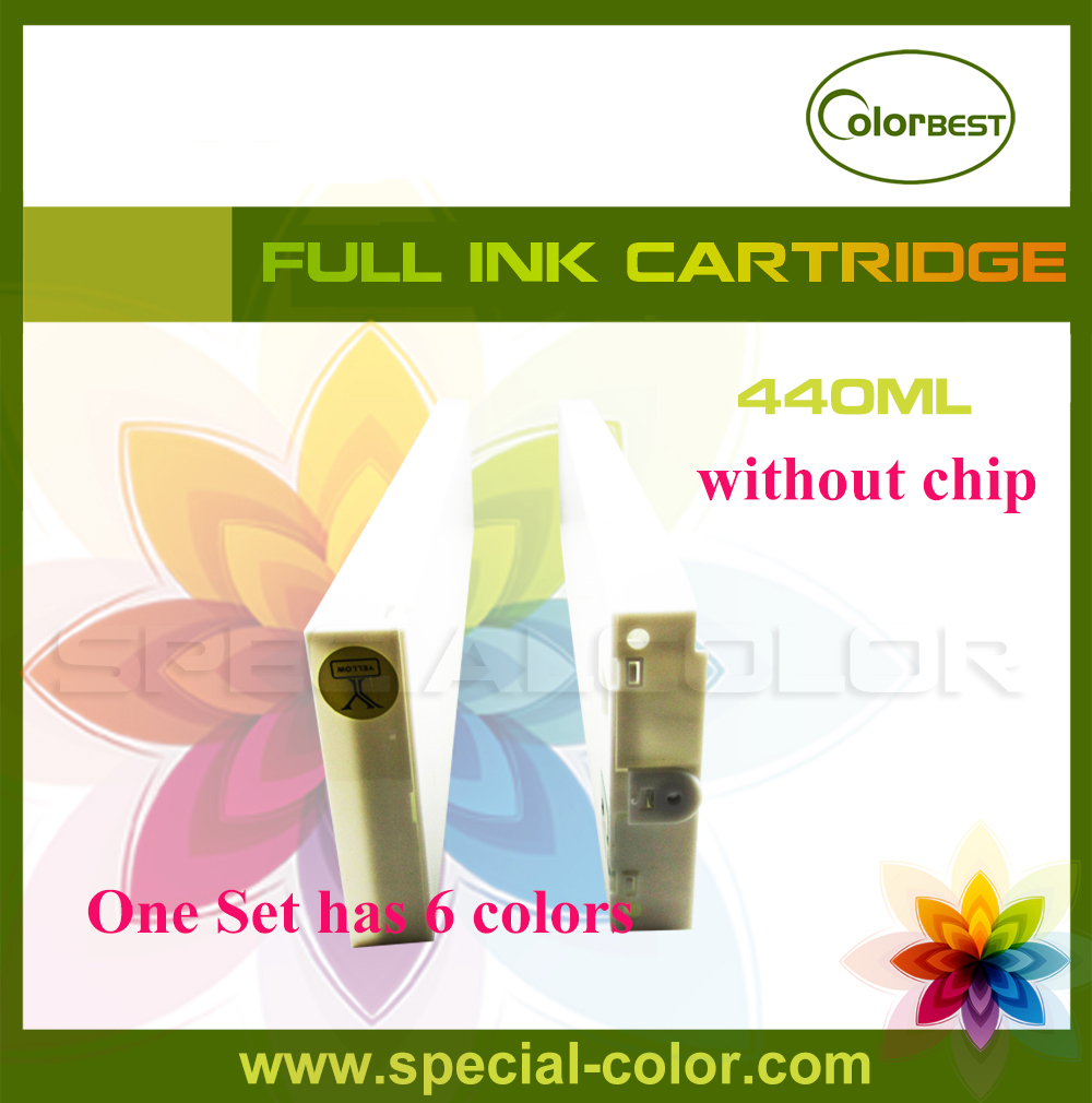6 colors/set 440ml Eco solvent ink cartridge without chip for Roland/Mimaki/Mutoh Printer 4 colors set cmyk roland dx4 solvent printer full ink cartridge with chip
