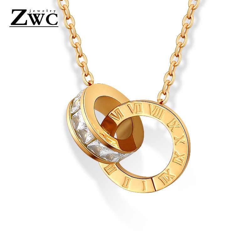 ZWC ใหม่แฟชั่น Luxury Gold สีโรมันตัวเลขสร้อยคอจี้สำหรับงานแต่งงานของผู้หญิงสร้อยคอสร้อยคอของขวัญเครื่องประดับ
