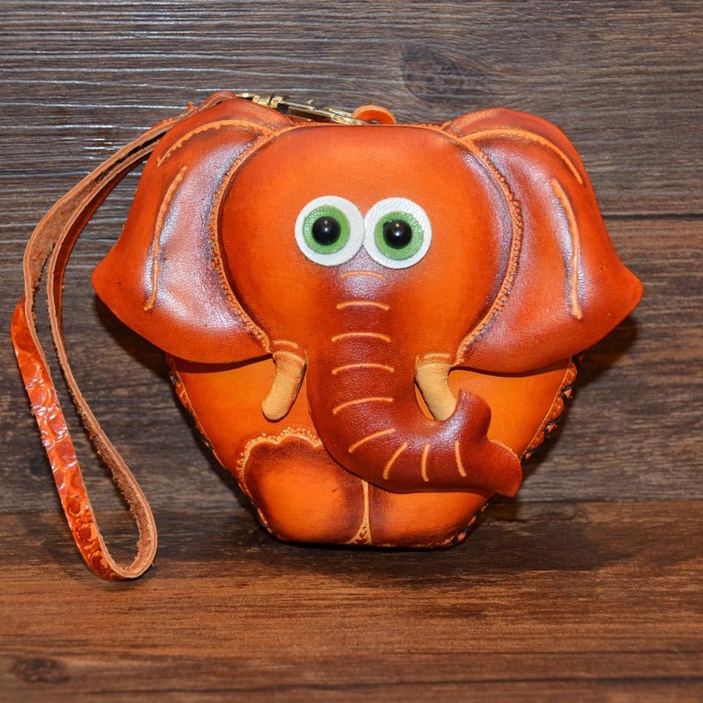 2018 Echt Heißer Verkauf Echtem Leder Dame Handgemachte Rindsleder Münze Tasche Mini Brieftasche, Weibliche Leder Tasche Tasche, Niedlichen Elefanten Geld. Gut FüR Energie Und Die Milz