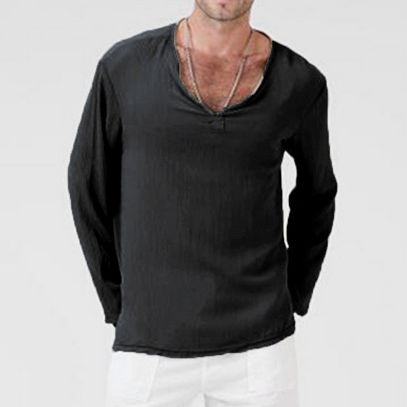 Summer Beach Mens Casual Solid V-Neck Long Sleeve Linen Shirt Cool Top T-shirts