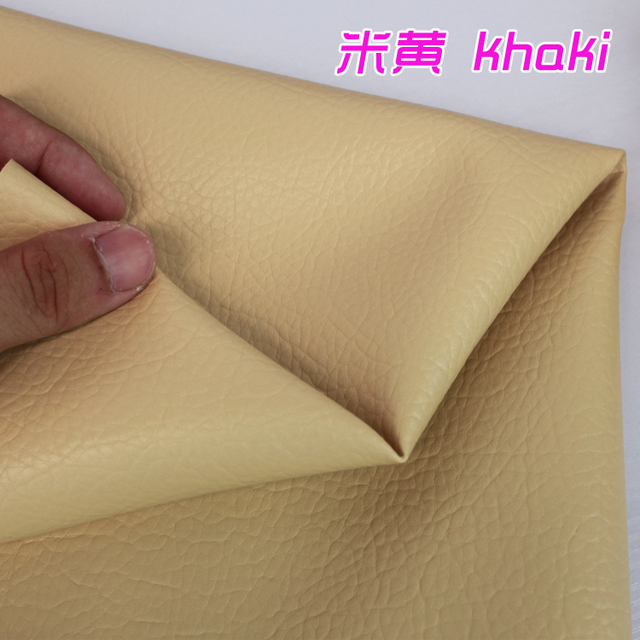 Khaki Lychee Pattern Pu Synthetic Leather Faux Fabric Upholstery Car Interior Sofa Cover 54