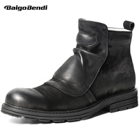 Retro Men Chelsea Black Boots Zip Martin Boots Man Soliders Genuine Leather Wrinkle Winter Boots Casual