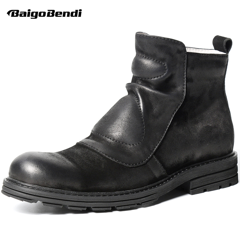 Retro Men Chelsea Black Boots  Zip Martin Boots Man  Soliders Genuine Leather Wrinkle Winter Boots Casual Shoes men leather martin boots chelsea winter british retro men shoes zipper leather shoes breathable fashion boots