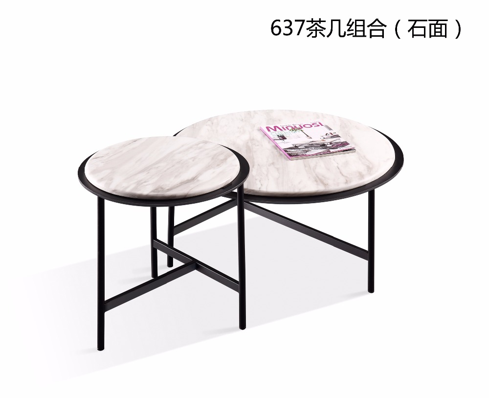 0621CJ637 Modern round metal frame Marble surface living room furniture coffee tea table round combination round table furniture parlor marble combination wood adjustable tv cabinet coffee table