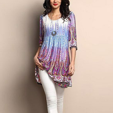 New Women Tunic Tops Blouse Floral Printed O Neck Long Sleeve Pullover Autumn Ruffled Casual Plus Size 5XL Shirt Camiseta