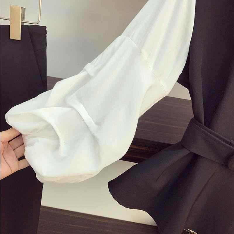 2020 Весна Осень Корейская женская сексуальная тонкая рубашка с v-образным вырезом и поясом + укороченные брюки-карандаш костюм для женщин размера плюс 4XL комплекты одежды Z270