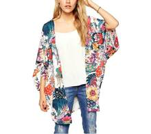 Gypsy Style Floral Print Bat Sleeve kimono Long Wrap Summer Jacket Boho Women Outerwear Beach Hippie Cardigan chiffon kimono(China)