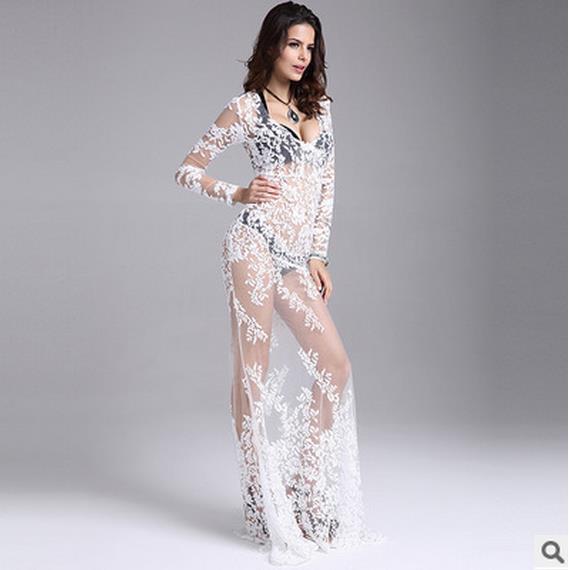 perspektivní podlahová dýha prošívaná krajka s dlouhým rukávem Letní šaty sexy perspektivní gázové šaty Štíhlá bílá bez podšívky