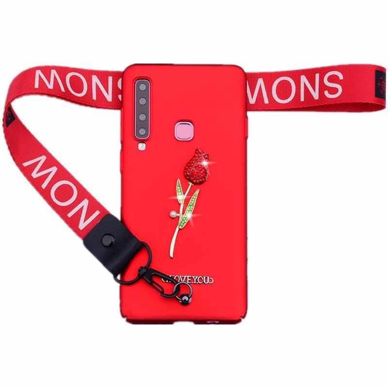 Luxury With Lanyard Phone Case For Samsung A7 A9 2018 Diamond Case For Samsung A50 S10 Plus S10e A6 A8 J6 Plus A30 Rose Cover