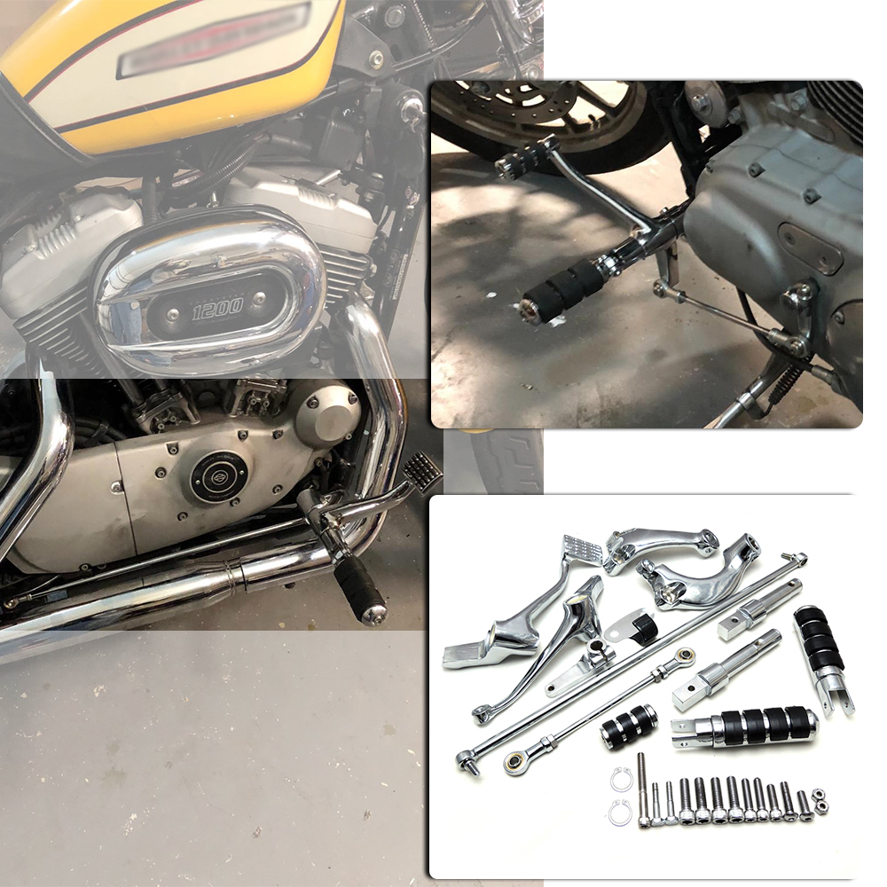 Foot Pegs Levers Linkage For Sportster XL883 XL883C XL1200L XL1200R Forty Eight Footrest Foot rests Forward
