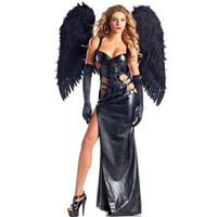 Halloween COS Dark Night Devil Demon Angel Suit Costume with Wing Carnival Party Show Cosplay Dress Up Wowen Girls