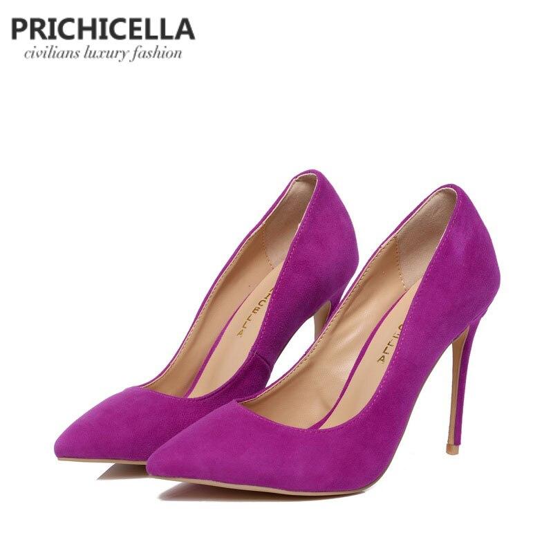 PRICHICELLA Purple suede pumps genuine leather 10cm super high heels pointed toe dress shoe size34 42