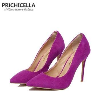 Prichicella фиолетовый замшевые туфли-лодочки Натуральная кожа 10 см супер Обувь на высоком каблуке с острым носком модельные туфли size34-42