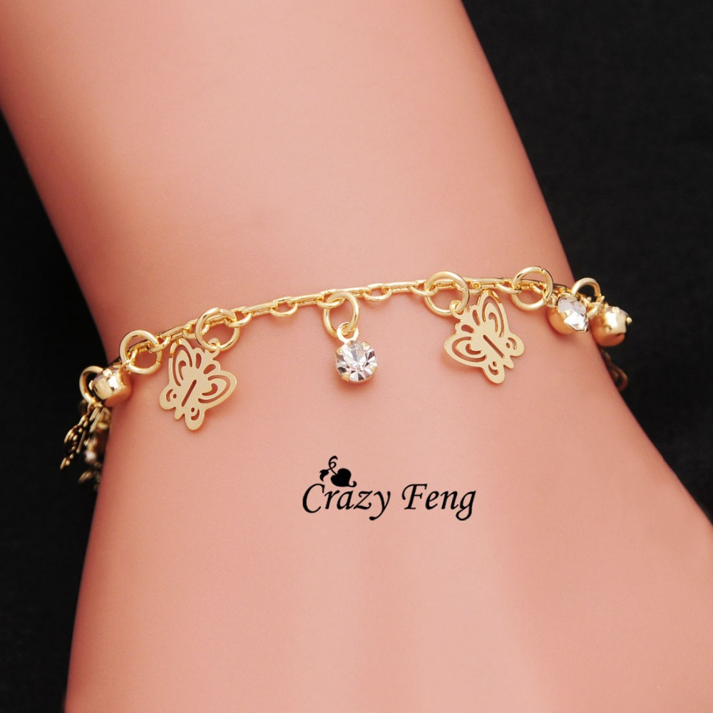 Free shipping Crazy Feng Brand New Gold Color Charms Bracelets Anklets Girl butterfly Dangle Austrian Crystal Women Jewelry