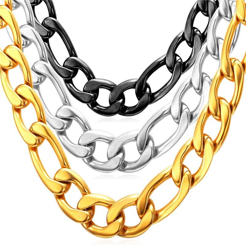 ̿̿̿(•̪ )Figaro Collares de cadena collar de acero inoxidable para ...