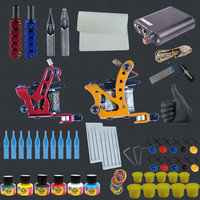 Free Shipping Tattoo Kit Complete 2 Tattoo Machines 6 Colors USA Brand Tattoo Inks Power Supply