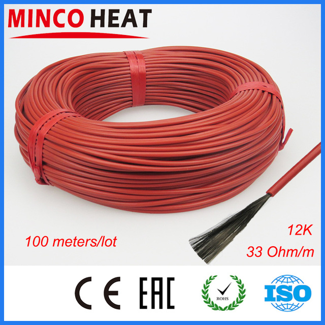 (100m/lot)3mm 12K/33ohm Infrared underfloor heater electric wire home silicone carbon fiber heating cable