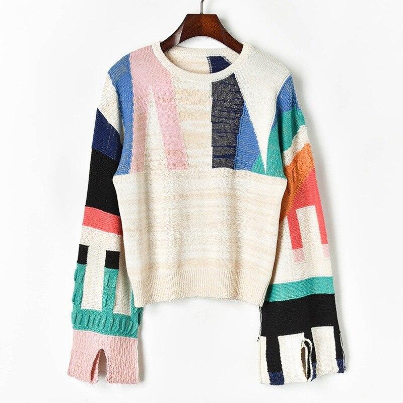 Surdimensionné Patchwork géométrique laine tricoté pull femmes hiver hauts manche évasée décontracté pull Feminino coréen automne pull