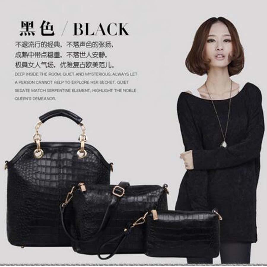 ФОТО New Arrival Composite leather Bag Women Handbag Shoulder Crossbody Bag Handbag+Messenger Bag 3 sets vy