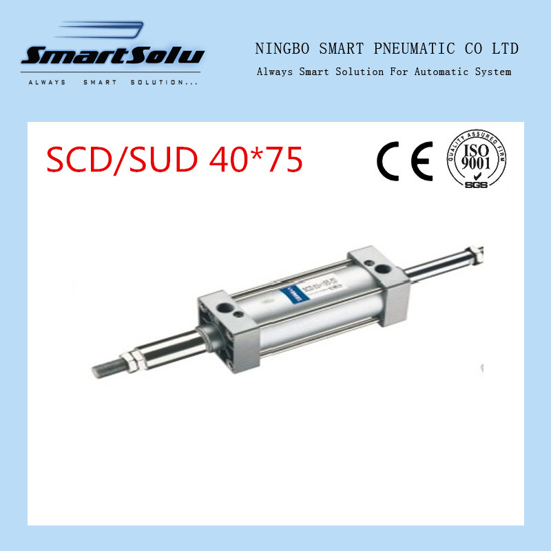 Free Shipping 40mm Bore 75mm Stroke G1/4 Standard Pneumatic Air Cylinder SCD40*75 free shipping 32mm bore sizes 75mm stroke sc series pneumatic cylinder with magnet sc32 75