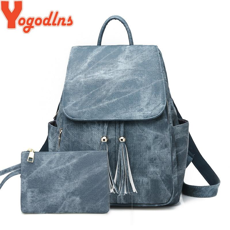 Fashion 2pcs Set Bag Women  Leather Backpack School Knapsack For Teenage Girls Female Tassel Rucksack Bolsas Mochilas