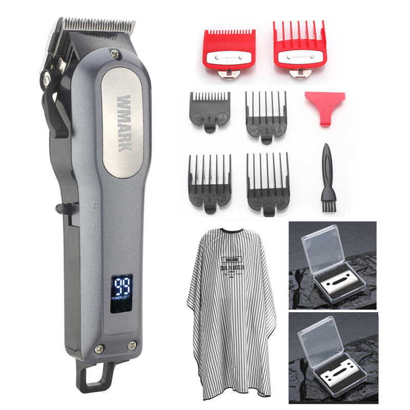 WMARK LCD Professional Hair Cutter Hair Trimmer Rechargeable 2000mAh Lithium Battery 6500rm Coldless Hair Clipper Free Many Gift