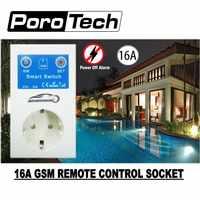 El más nuevo 16A GSM enchufe SMS APP encendido apagado alarma salida relé interruptor inteligente Control remoto Control inteligente Sensor de temperatura