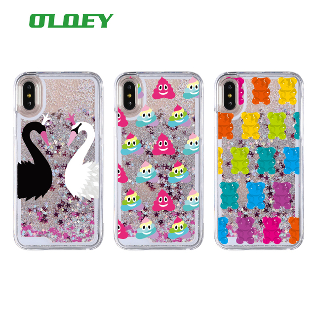 Gummy Bear Jelly Ice Cream Swan Glitter Liquid Hard Phone Case Coque Fundas For  iPhone 6 6Plus 6S 7 7Plus 5SE 8 8Plus X XS Max 8a08f1305ff5