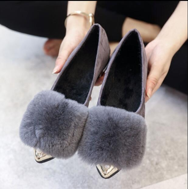 2017 Fashion Women Shoes Woman Flats high quality fur Casual Comfortable pointed toe Rubber Women Flat Shoe Hot Sale NEW ALF524 2017 fashion women shoes woman flats high quality casual comfortable pointed toe rubber women flat shoes plus size 35 42 s097