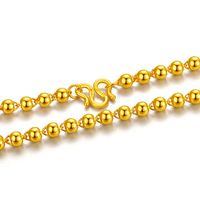 Solid 24K Yellow Gold Necklace Women 4mm Smooth Beads Necklace Chain 12.82g