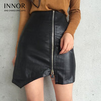 Sexy Women Bodycon Skirt Top Quality PU Leather Skirt Ladies Mini Short Skirt Side Split Zip Skirt Black Sexy