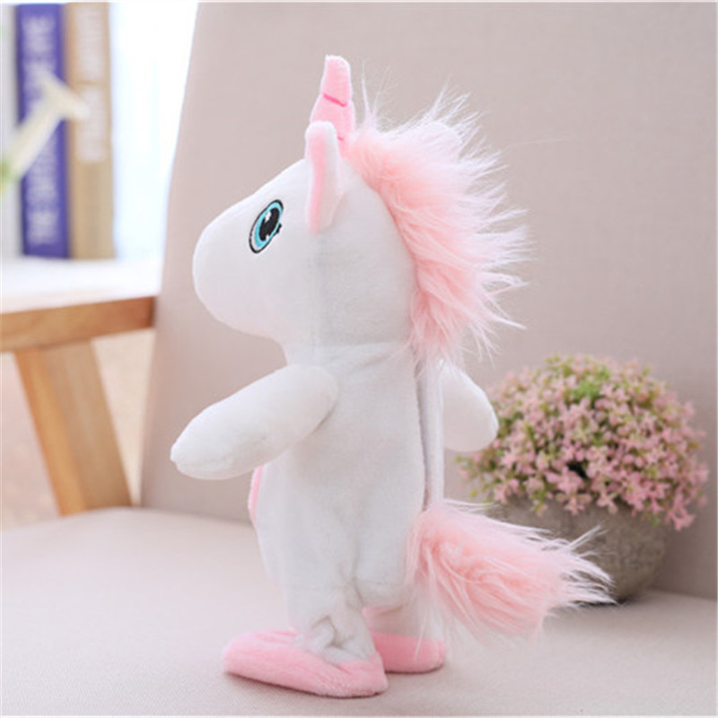Купить с кэшбэком Robot Unicorn Sound Control Interactive Unicorn Electronic Toys Plush Pet  Walk Talk Animal Toys For Children Birthday Gifts
