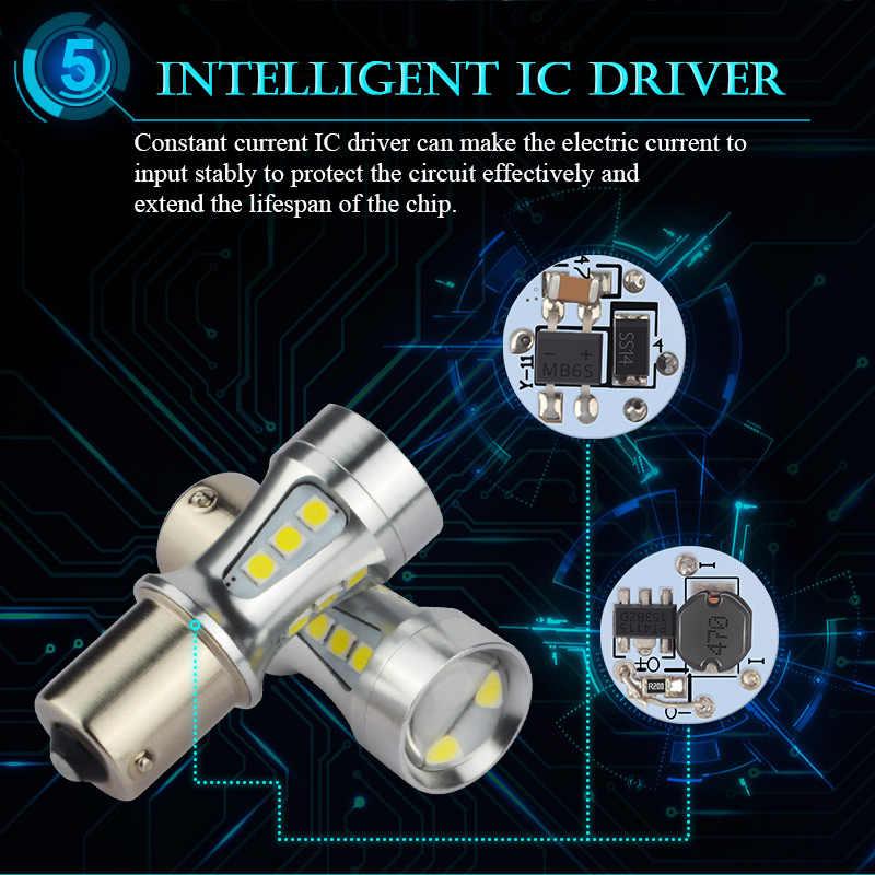 NAO P21W LED BAY15D PY21W BA15S สีขาว 1300Lm รถ LED หลอดไฟ P21/5 W ไฟเลี้ยว 1156 3030 6000K T20 W16W T15 W21/5 W 7443 W21W 7440