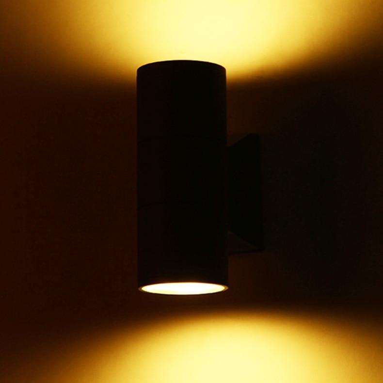 Işıklar ve Aydınlatma'ten Dış Mekan Duvar Lambaları'de Yukarı Ve Aşağı Duvar Işık Bodur Siyah IP65 Açık Bahçe 6 W 18 W 24 W 36 W Kapı Lamba su geçirmez Veranda Işıkları Çift Kafa Duvar Işık title=