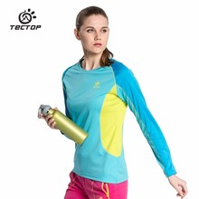 TECTOP 2016 Beautiful Summer Outdoor Men Women Quick Dry T Shirt Long Sleeve Couples Sunscreen Breathable Sports Hiking Camping