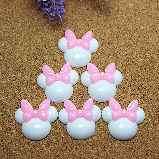 10pcs/lot, 27*28mm cute resin white Minnie Mouse pink polka dot bow flatback cabochon DIY crafts scrapbooking