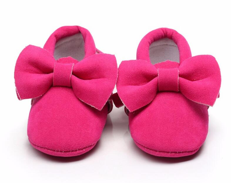 Cute Big Bow Baby Girls Shoes Pu Suede Leather Infant Toddler Baby Moccasins Tassel Soft Sole Shoes 9 Color Fashionable