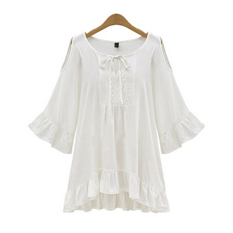 New Spring Sexy Off Shoulder Women T-shirt Summer Casual Loose Swing Sleeve Tops Plus Size