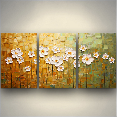 Hand painted thick paint pallet knife Oil Painting white flower tree ...