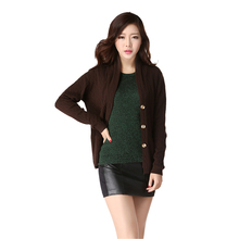 Women's Long Sleeve Knitted Cashmere Cardigan Women Loose Casual Sweater Female Outerwear Coat With Pockets Sweater-DL9809W