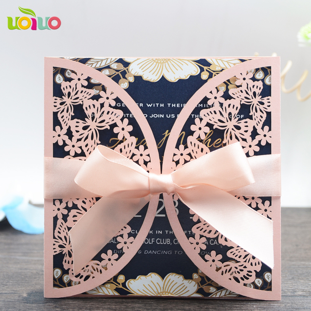 Aliexpress Buy 50 sets Laser cut butterfly wedding – Butterfly Wedding Invitation Cards
